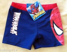 NWT Youth Marvel Comics Spiderman Navy Blue Brief Shorts Swimwear Sizes 4 5 6 8