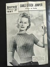 Vintage Bestway Knitting Pattern Ladies Cable Stitch Jumper Use 3 Ply Wool