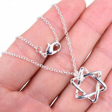 Designer Inspired 925 Sterling Silver Star of David Pendant+ Necklace Chain H477