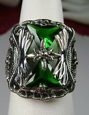 Trillion *Green Emerald* Sterling Silver Art Deco Filigree Ring Size: MTO/Custom