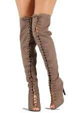 Qupid Black Taupe Peep toe Lace up Thigh high Boots Over the Knee Women's Shoes