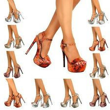WOMENS PEEP TOE STRAPPY PLATFORM STILETTO LADIES HIGH HEEL SANDAL SHOES SIZE NEW