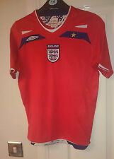Umbro ENGLAND Child 10-11 Years Football Shirt Soccer Jersey Top Red Away Kid's
