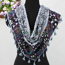 Women Fashion Double Long Flower Triangle Cotton Scarf Wrap with Tassel Fring