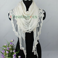 Solid Color Stretch Crinkle Triangle Scarf Shawl Wrap Embroidery Lace Trim New