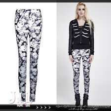 punk visual rock hollow woman X-ray human skull giddy print leggings K259 BK