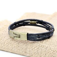 MENS COOL BROWN BLACK LEATHER BRACELET WRISTBAND CUFF WOMEN