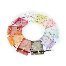 25pcs 7X9cm Jewellery Pouches Heart Packing Organza Gift Candy Bag Wedding Party