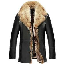 Fashion Mens Fur Collar Leather Jacket Coat Trench Outwear fur lined Parka