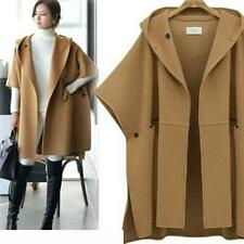 womens loose woolen hooded winter parka trench coat hooded jacket