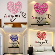 DIY 3D Mirror Acrylic Wall Stickers Love Heart Home Removable Decal Art Decor