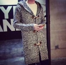 Mens Fashion Hooded knitting Sweater Cardigan Trench Long Coat outwear