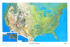 United States (50 States) Large Size Raised Relief - Natural Color Relief Style