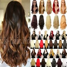 Real Thick Ombre Hair 3/4 Full Wig Clip In Hair Piece Half Wigs Straight Wavy td