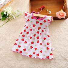 New Baby Girls Casual Summer Dress Polka Dot Hearts Floral Strawberry Dress