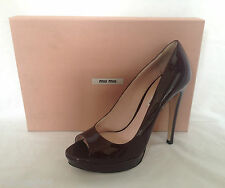 Miu Miu Bordeaux Patent Leather Peep Toe Pumps Heels Shoes BNIB 4 5 6 37 38 39