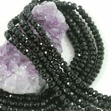 Wholesale Black Crystal Glass Beads Faceted Rondelle Jewelry Making  4/6/8/10mm