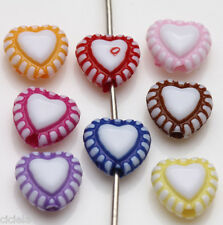 50/100Pcs Mixed Acrylic Heart Shape Loose Spacer Beads Jewelry Findings 8X7mm