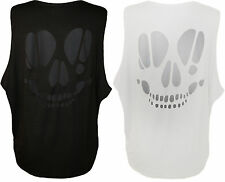 New Womens Skull Cut Out Back Baggy Ladies Sleeveless Loose Fit Vest Top