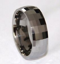 TU3095 Unisex High Polish Multi Faceted Tungsten Carbide Ring