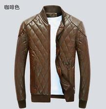 New  Mens Coats Slim Zipper  Plaid Leather Casual PU Coats Jackets Outdoor Tops
