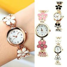 Fashion Womens Girl Daisies Flower Rose Golden Dress Bracelet Quartz Wrist Watch