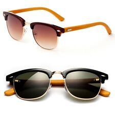 """Half Frame Vintage Lens Sunglasses REAL Bamboo Wood Temple  Retro Cool """"Louise"""""""