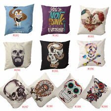 "18"" Decorative Cushion Cover Throw Pillow Case  Cotton Linen Headphone Skull"