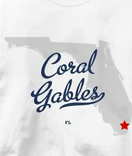 Coral Gables, Florida FL MAP Souvenir T Shirt All Sizes & Colors