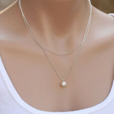 Classic Simple Pearl Choker Pendant Necklace Chunky Statement Sweater Bib Chain