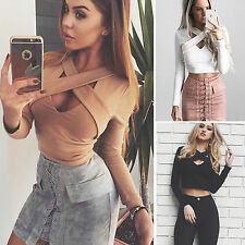 Fashion Women Criss Cross T-shirt Lady Long Sleeve V Neck Casual Crop Top Blouse