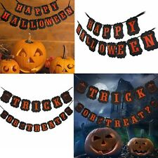 Halloween TRICK OR TREAT Silhouette String Banner Home Garden Party Decoration W