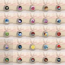 Mens Womans Pokemon Go Pokeball Cabochon Glass Moon Round Pendant Necklace