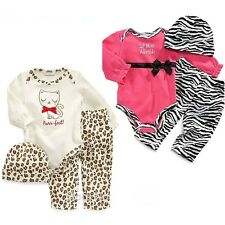 New Baby Girls Clothing Set Long Sleeve Romper + Pants + Hat 3 Pcs/Suit Outfit