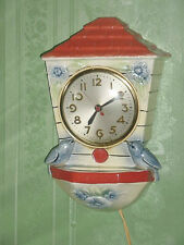 Vintage Sessions Ceramic Electric Blue Bird Planter Working Wall Clock
