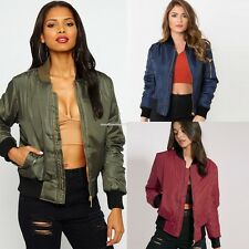 Autumn Women Bomber Jacket Zip Up Outwear Ladies Vintage Classic Biker Jacket