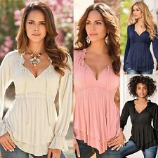 Women Chiffon Long Sleeve Sexy Top Blouse Ruffle Hem T-shirt Summer Shirt Tops