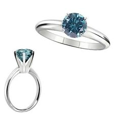 1.5 Carat Blue Diamond Solitaire Engagement Anniversary Ring 14K White Gold
