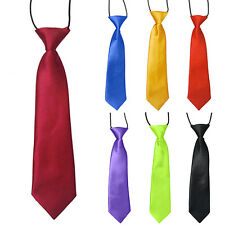 School Boys Kids Children Wedding Solid Colour Elastic Neck Tie Necktie Sanwood