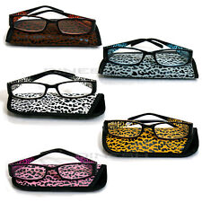 (4144) Reading Glasses glasses with edge Leopard Cheetah black white brown P