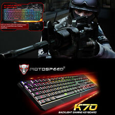 Motospeed K70 Illuminated LED Backlight USB Wired Multimedia PC Gaming Keyboard