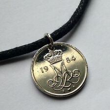 Denmark 10 ore coin pendant  necklace jewelry initial M Danish crown n000158