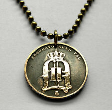 Sweden 2 ore coin pendant Swedish crown initial O necklace Scandinavian n000765