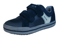 Geox J Elvis F Boys Leather Trainers / Shoes - Navy Blue