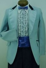 VINTAGE AFTER SIX LIGHT BABY BLUE MENS TUXEDO JACKET W/ NAVY VELVET TRIM RETRO