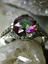 3ct Rainbow *Mystic Topaz* Sterling Silver 925 Flower Filigree Ring Size Any/MTO