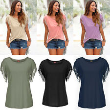 Women Plain Summer Loose Tassel Shirt T-Shirt Short Sleeve Top Blouse Dress New