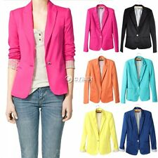 Women Candy Color Vopgue Outerwear Slim Blazer Jacket Suit Basic Coat 6 Colors