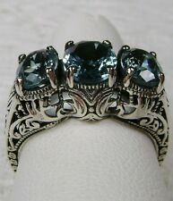 *Blue Aquamarine* Sterling Silver Filigree Edwardian/Victorian Ring Size Any/MTO