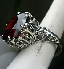 12ct Round *Garnet* Solid Sterling Silver Gothic King Filigree Ring Size Any/MTO